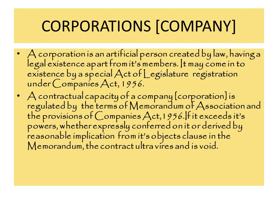 CORPORATIONS [COMPANY]